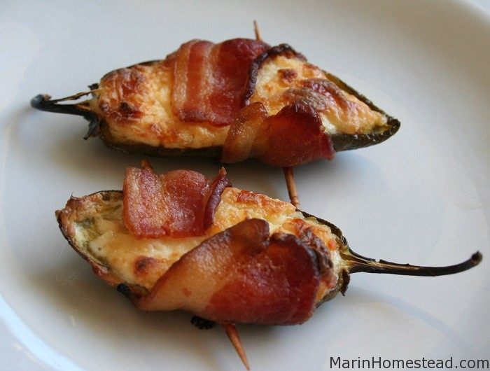 Cheese Stuffed Jalapeno Peppers Wrapped in Bacon